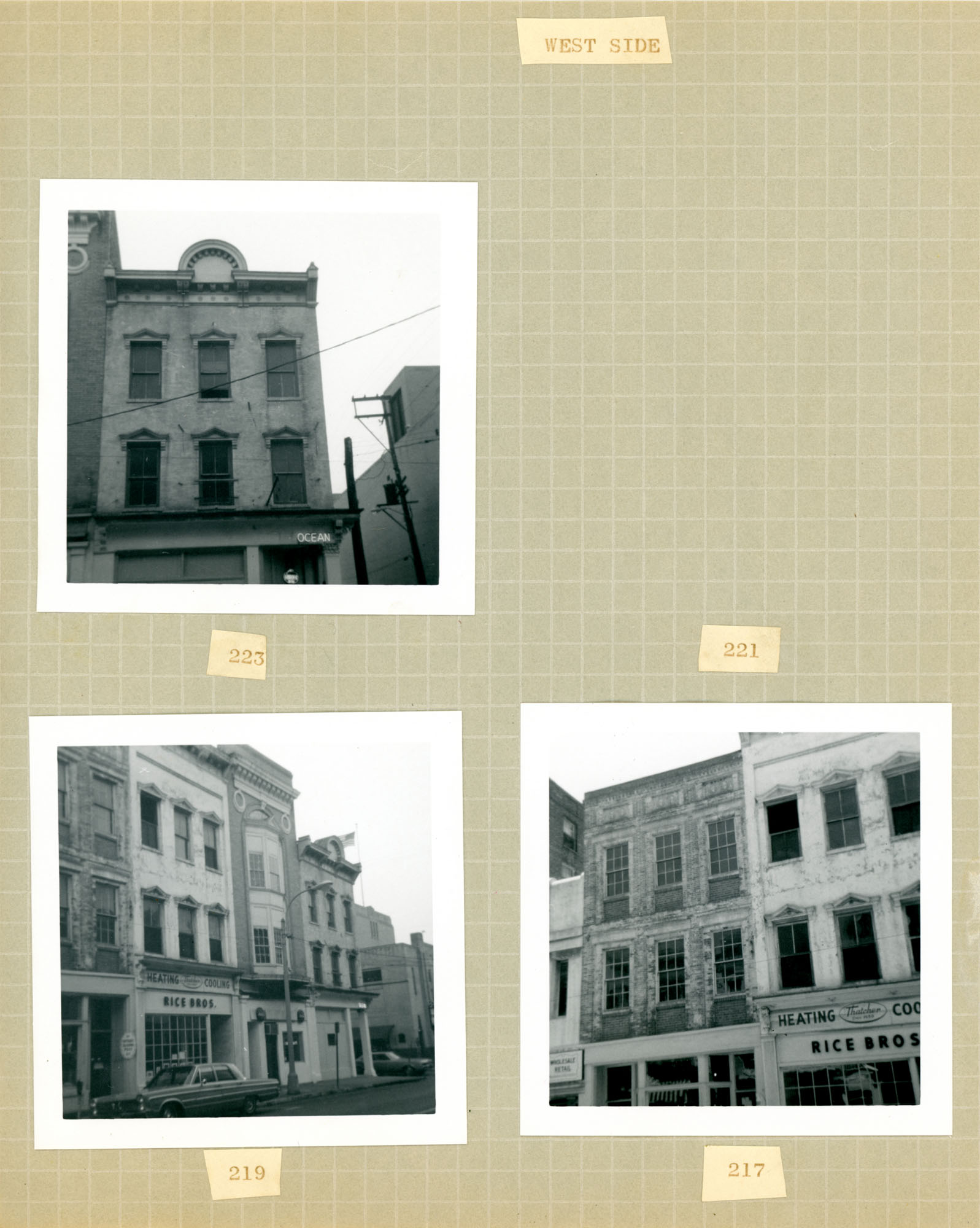 King Street Survey Photo Album, Page 3 (back): 217-223 King Street