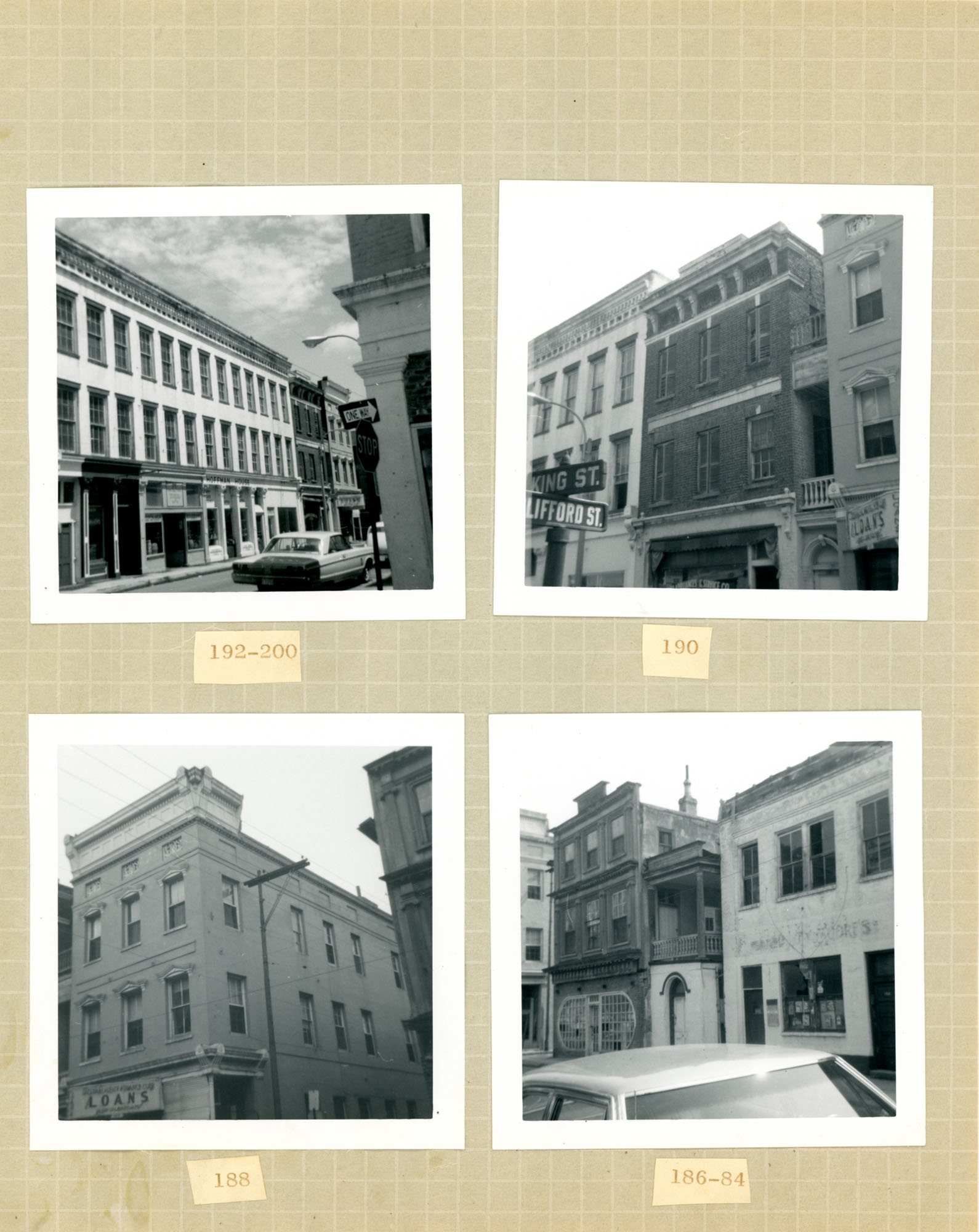 King Street Survey Photo Album, Page 4 (back): 184-200 King Street