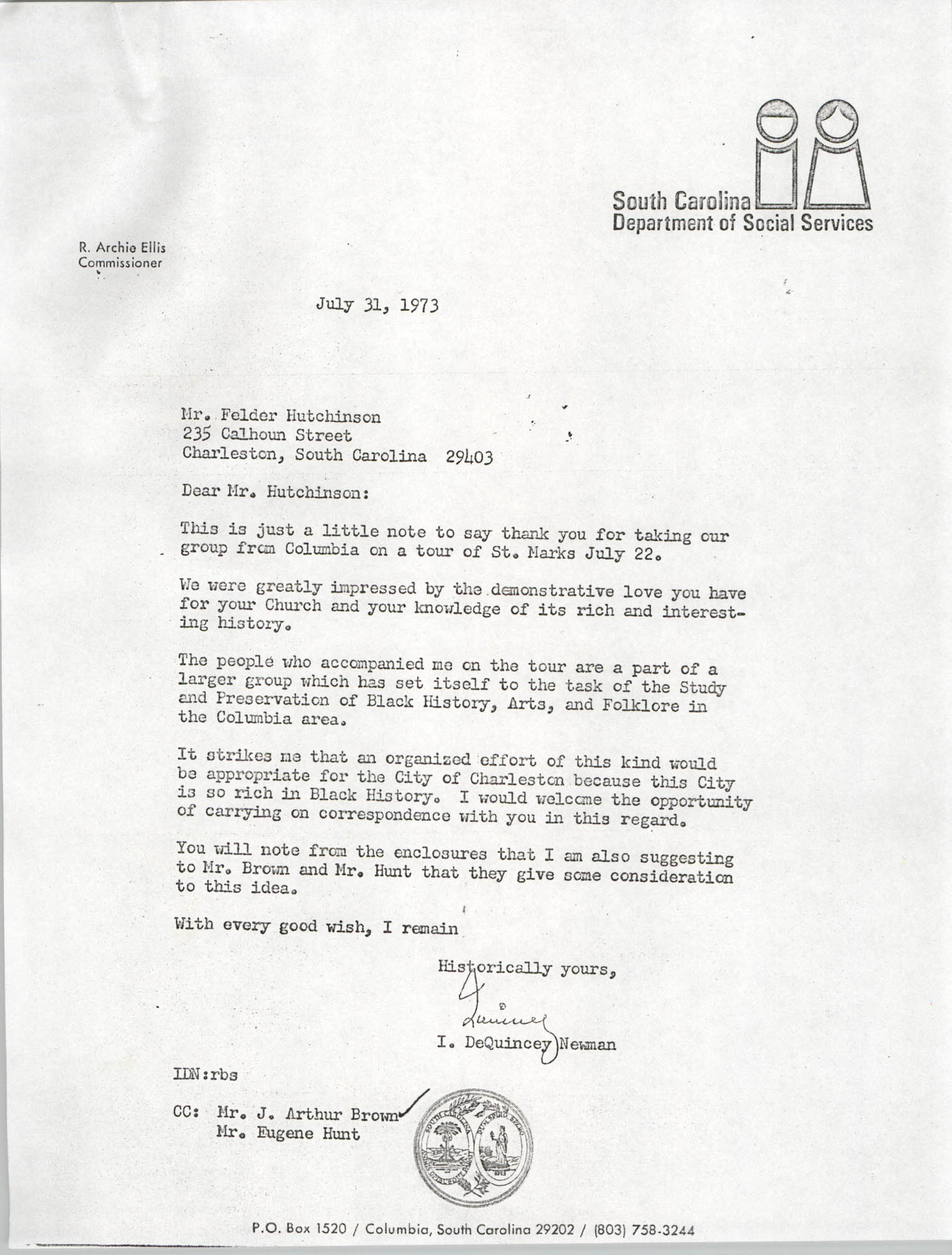Letter from I. DeQuincey Newman to Felder Hutchinson, July 31, 1973