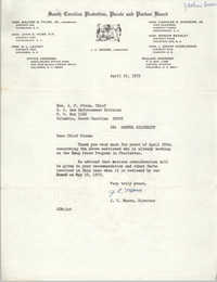 Letter from J. C. Moore to J. P. Strom, April 21, 1972