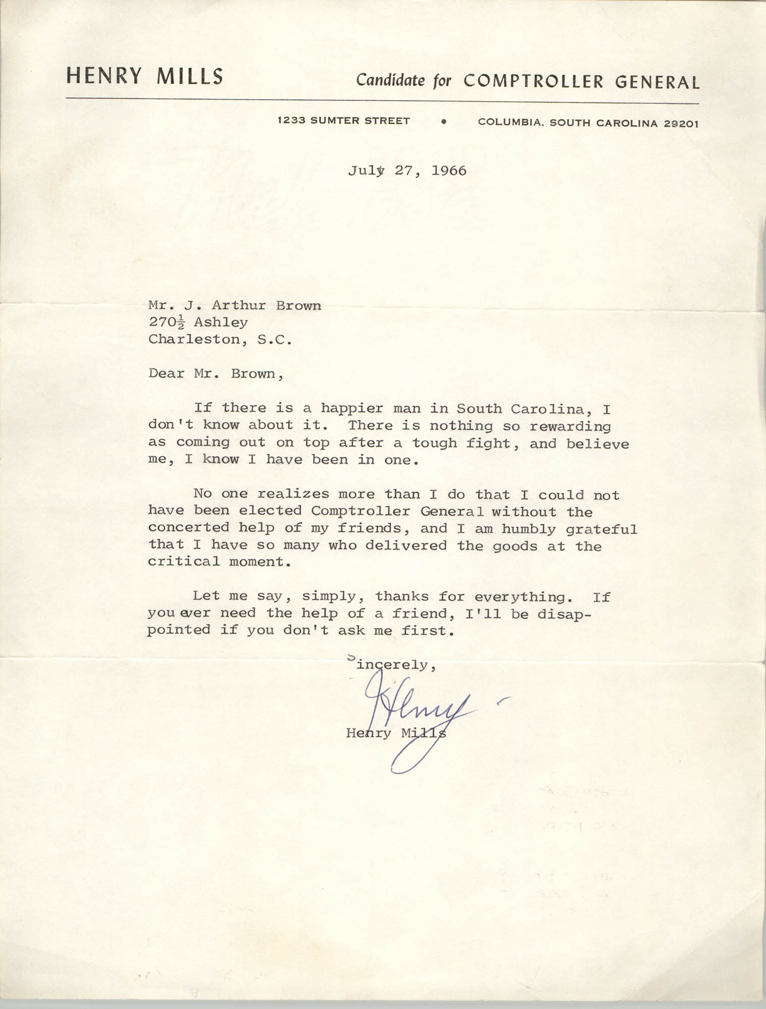 Letter from Henry Mills to J. Arthur Brown, June 27, 1966