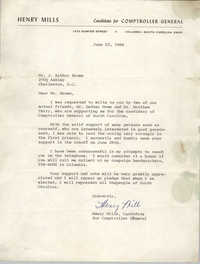 Letter from Henry Mills to J. Arthur Brown, June 23, 1966