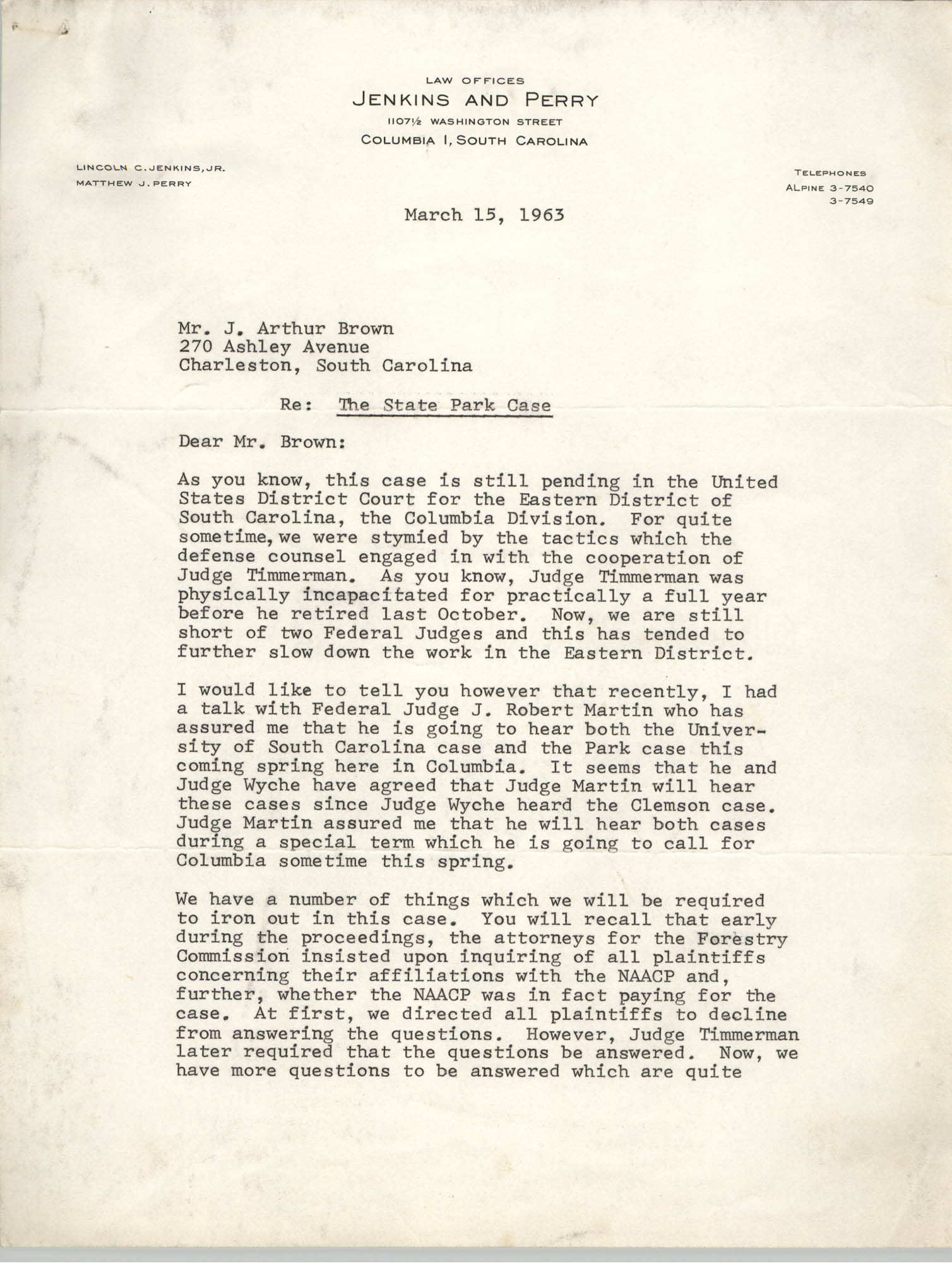 Letter from Matthew J. Perry to J. Arthur Brown, March 15, 1963