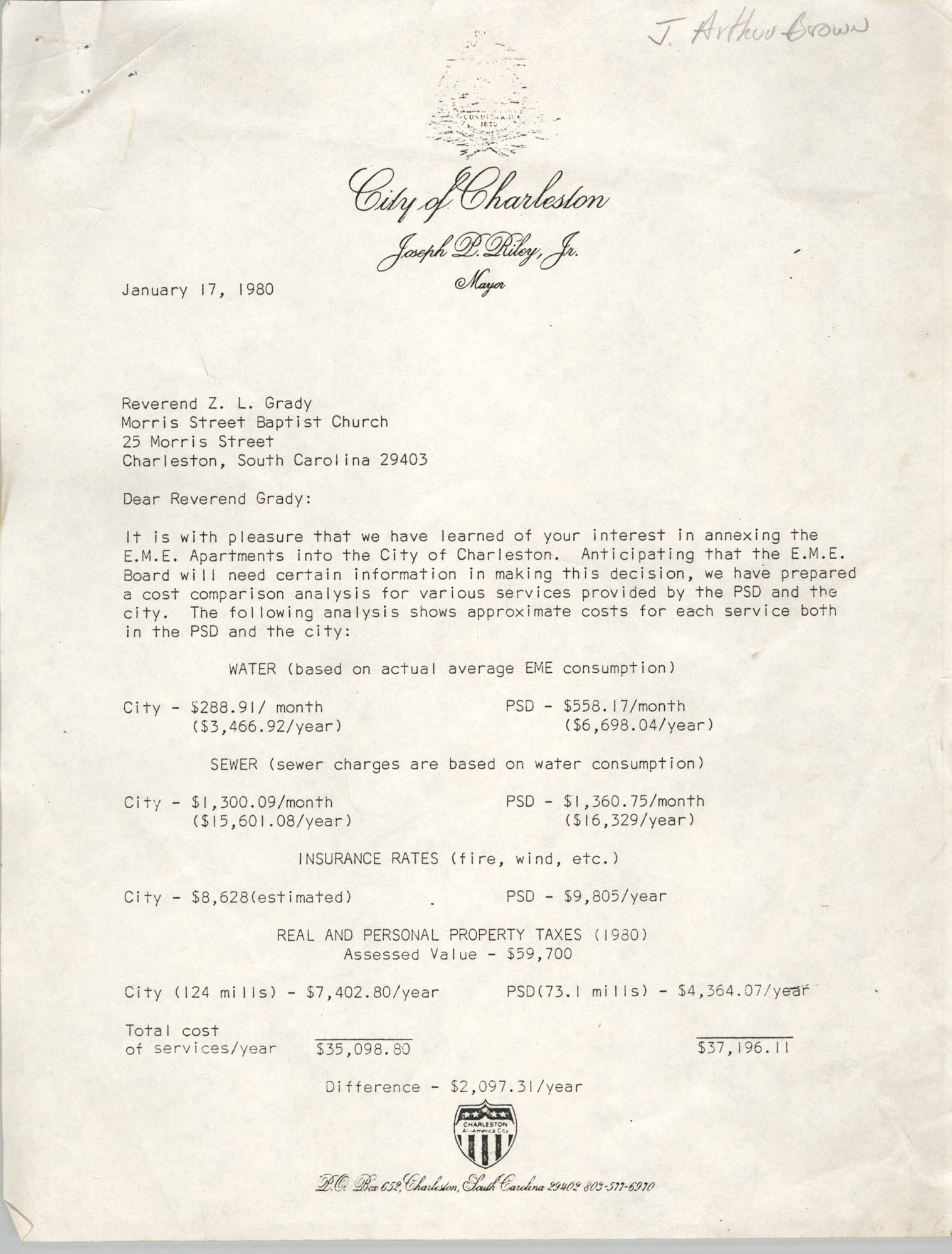 Letter from Joseph P. Riley, Jr. to Z. L. Grady, January 17, 1980