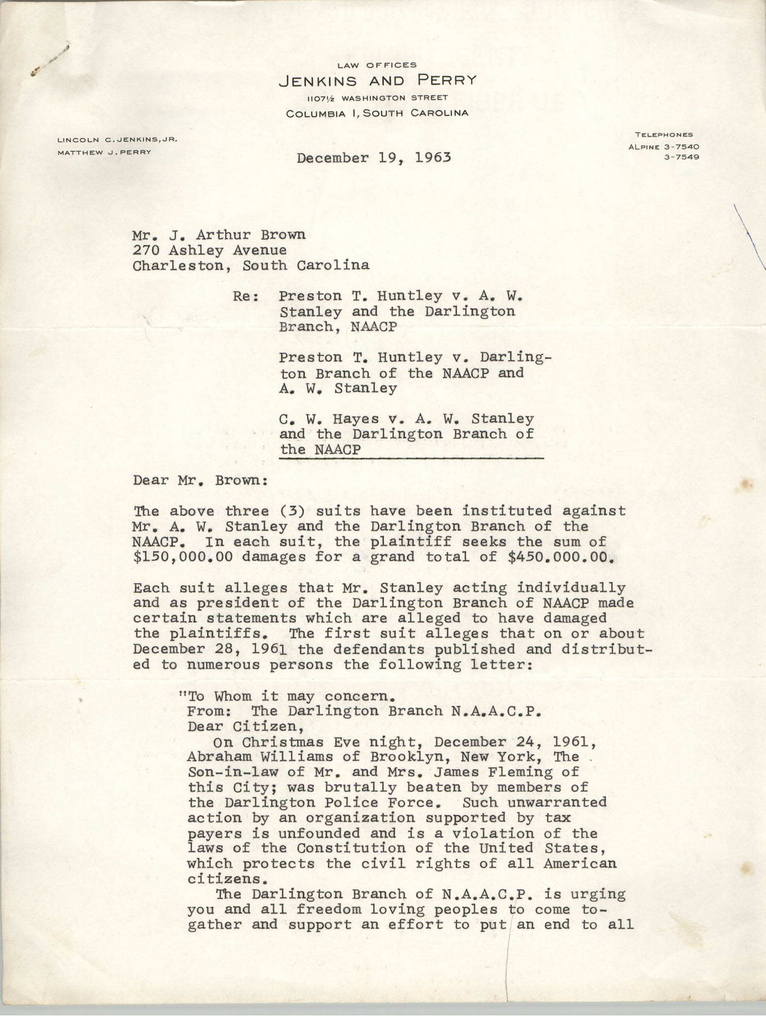 Letter from Matthew J. Perry to J. Arthur Brown, October 19, 1963