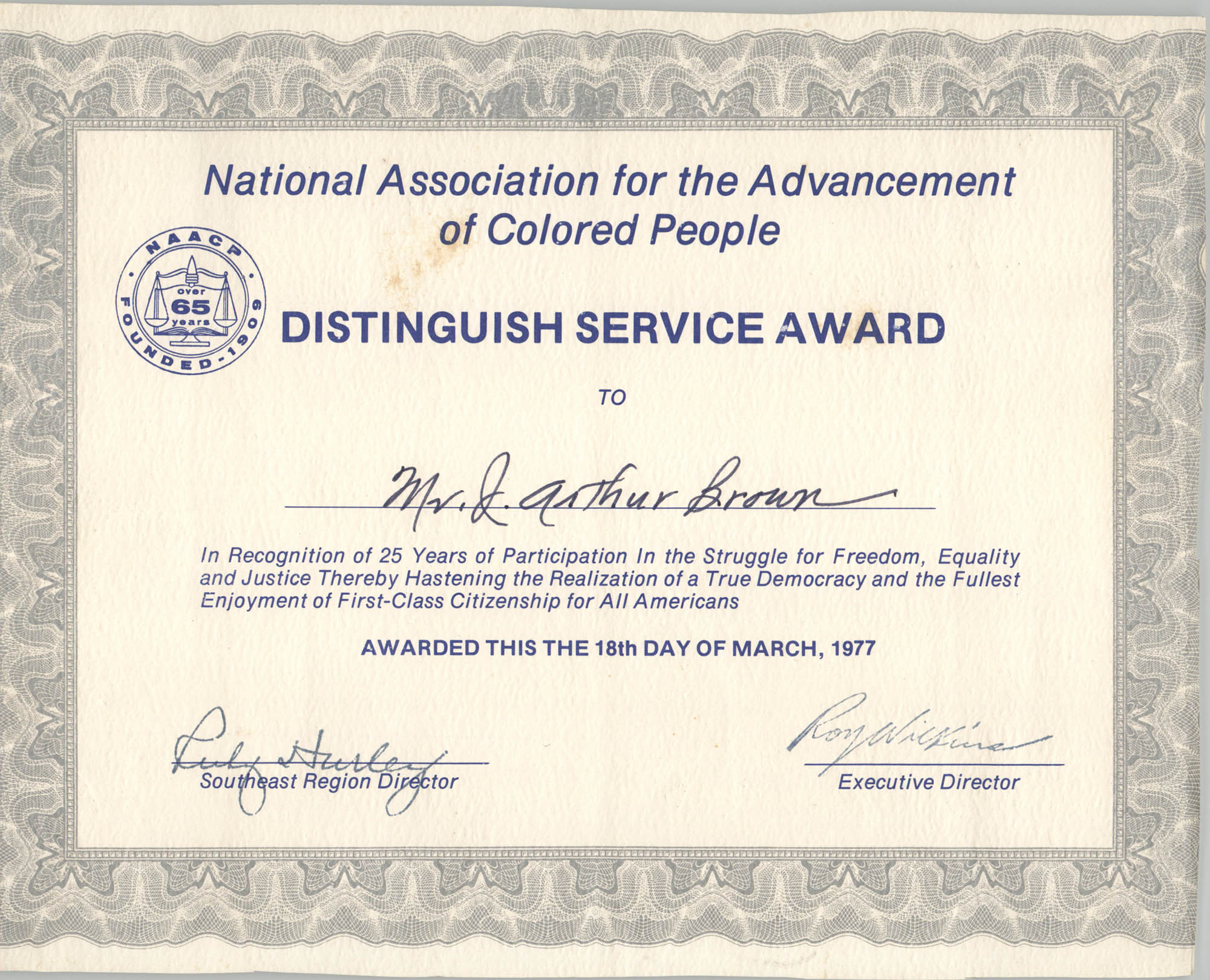 NAACP Distinguished Service Award for J. Arthur Brown