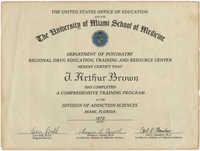 The University of Miami School of Medicine Department of Psychiatry Certificate for J. Arthur Brown, 1972