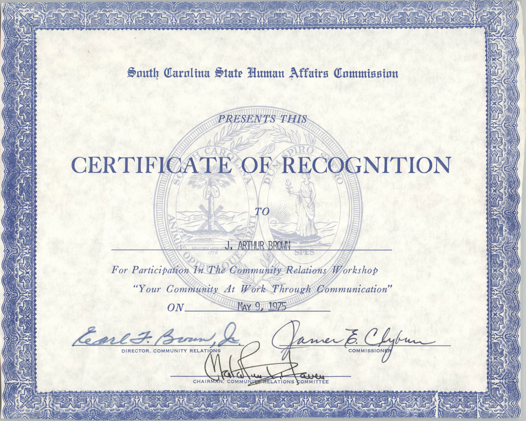 South Carolina State Human Affairs Commision Certificate of Recognition to J. Arthur Brown
