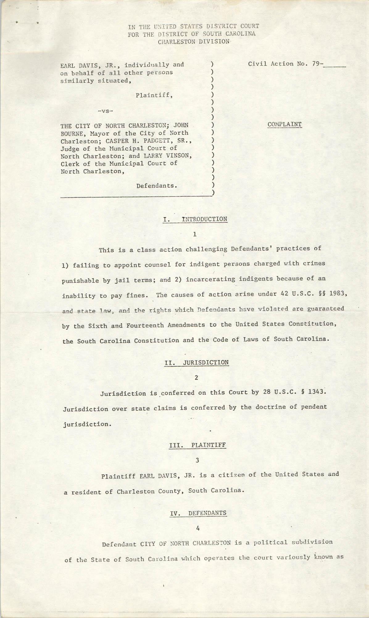 Civil Action No. 79-1042 Verification, Charleston Division, Earl Davis, Jr. vs. The City of North Charleston