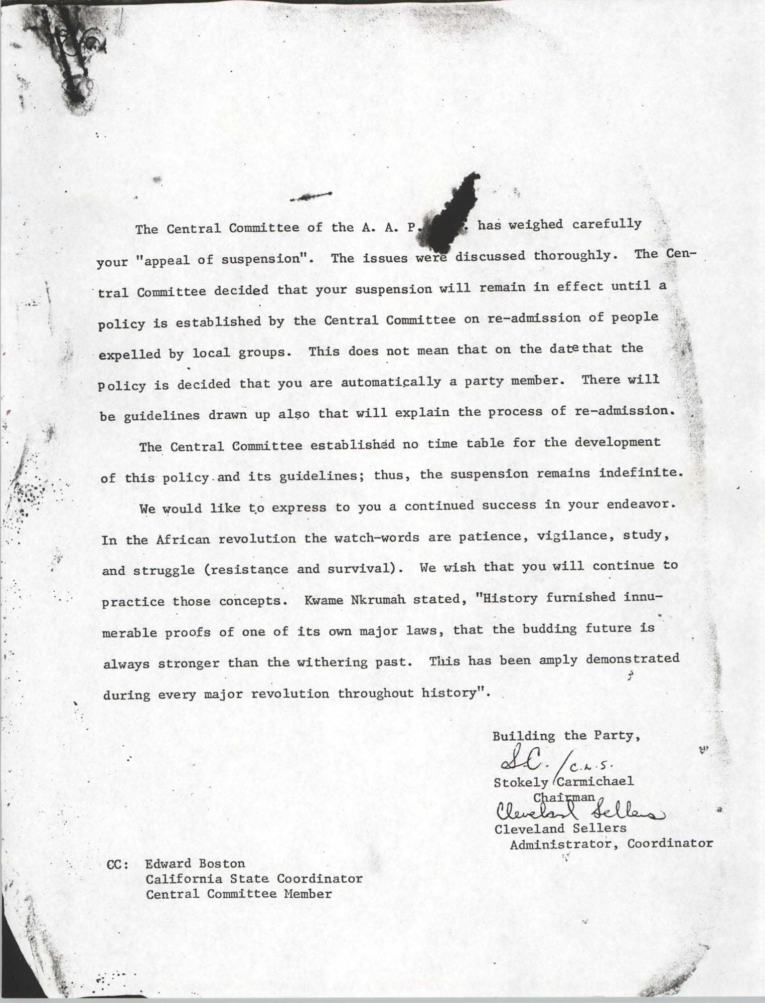Letter from Stokely Carmichael and Cleveland Sellers