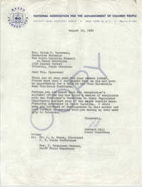 Letter from Herbert Hill to Alice N. Spearman, August 10, 1961