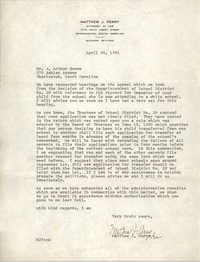 Letter from Matthew J. Perry to J. Arthur Brown, April 24, 1961
