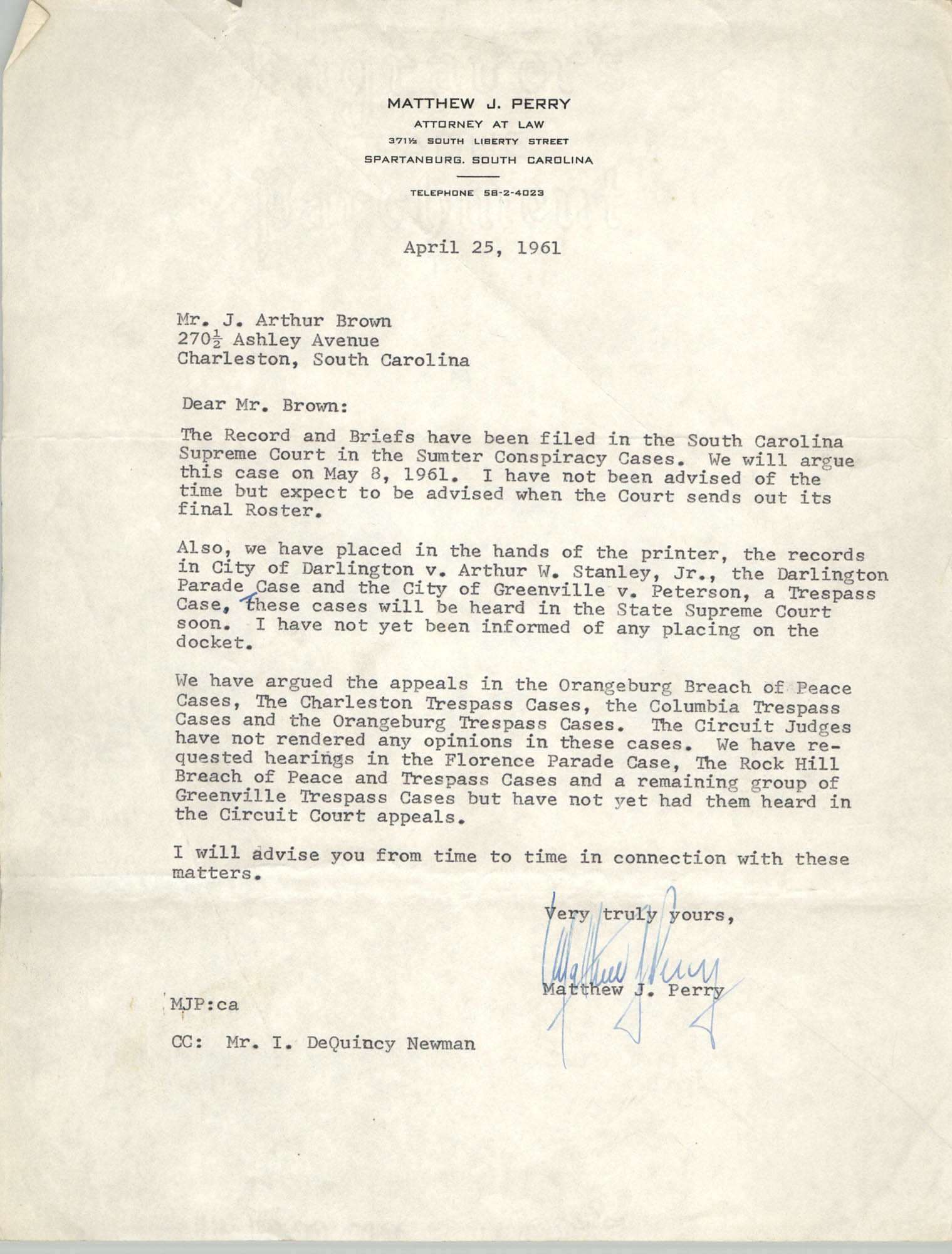 Letter from Matthew J. Perry to J. Arthur Brown, April 25, 1961