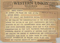 Telegram from Roy Wilkins to J. Arthur Brown, February 28, 1961
