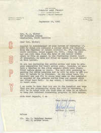 Letter from Matthew J. Perry to B. J. Glover, September 19, 1961