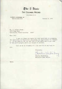 Letter from Charles Wickenberg to J. Arthur Brown, January 6, 1971