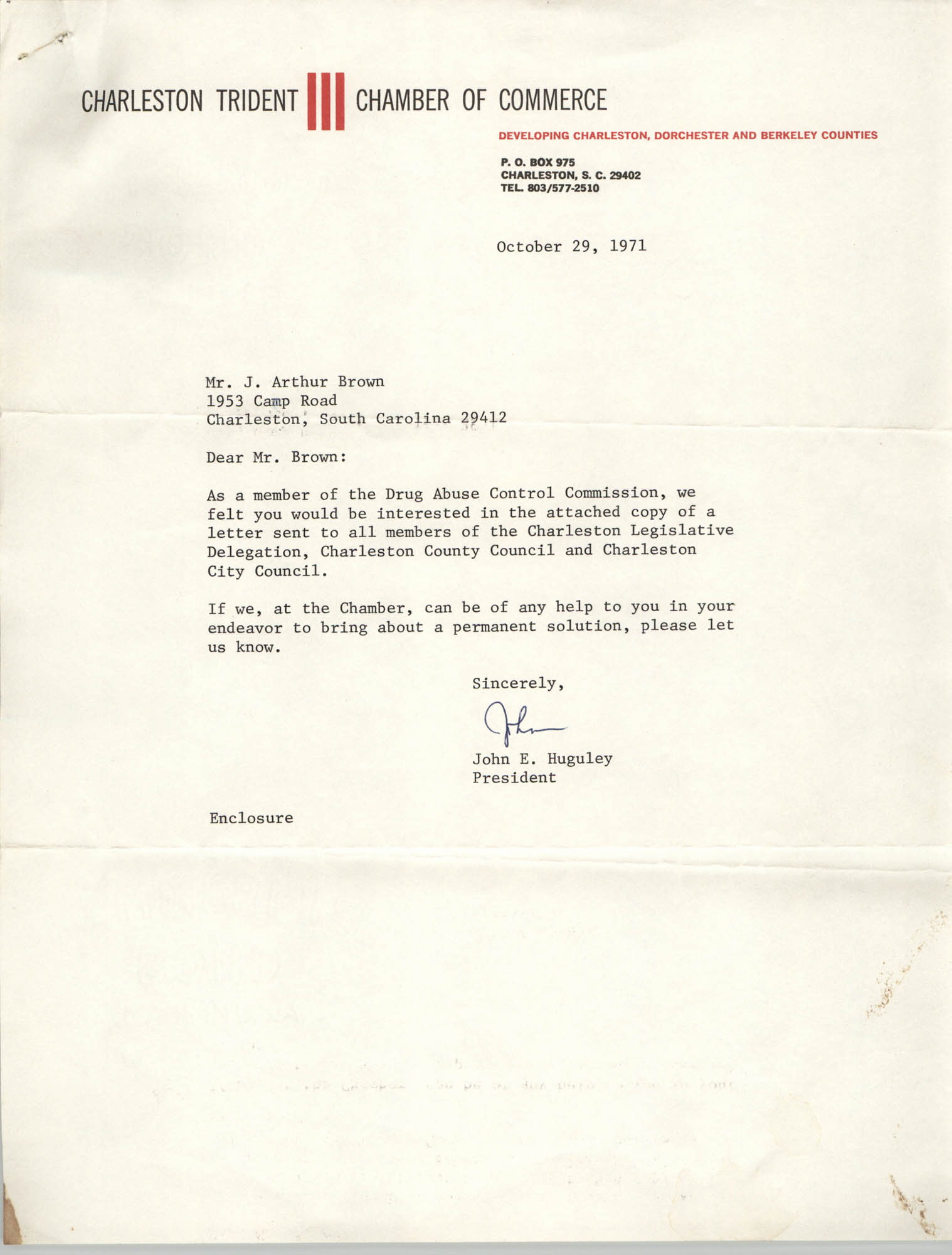 Letter from John E. Huguley to J. Arthur Brown, October 29, 1971