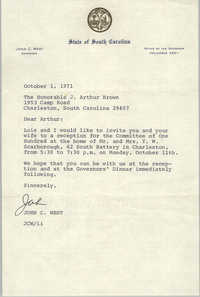 Letter from John C. West to J. Arthur Brown, October 1, 1971