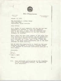 Letter from John C. West to J. Arthur Brown, August 13, 1971