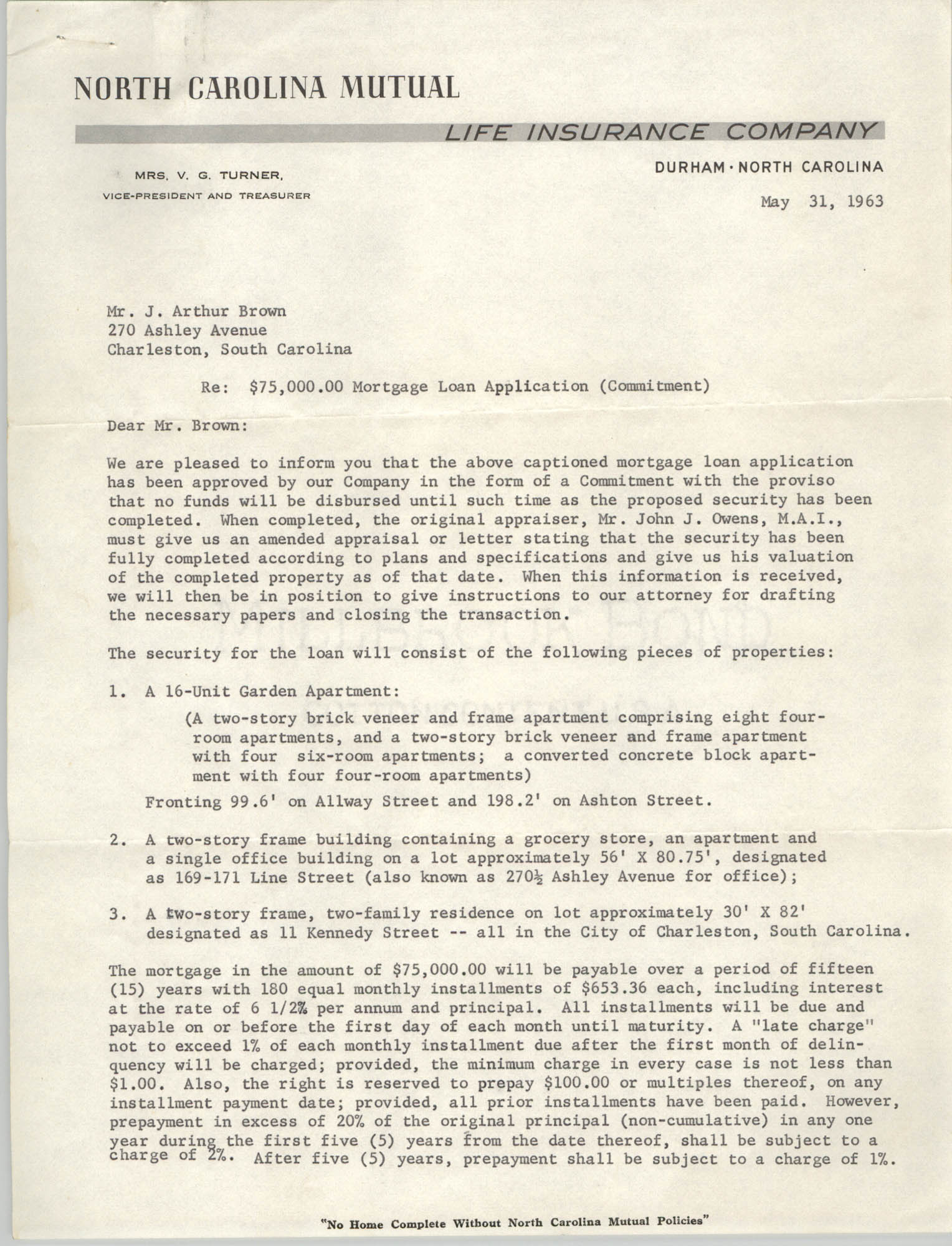 Letter from V. G. Turner to J. Arthur Brown, May 31, 1963