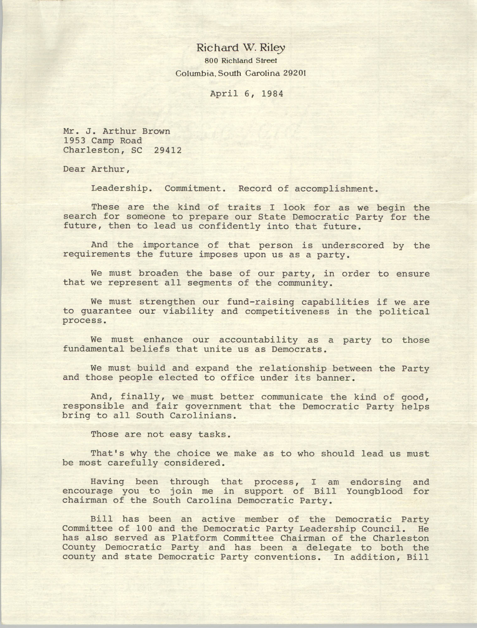 Letter from Richard W. Riley to J. Arthur Brown, April 6, 1984