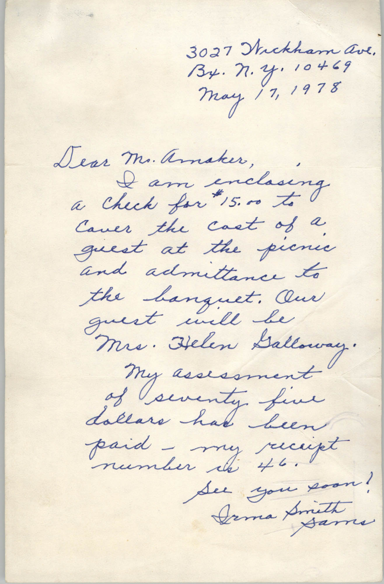 Letter from Irma Sams to Viola Amaker, May 17, 1978