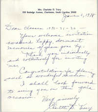 Letter from Charlotte D. Tracy to Avery Institute Reunion Classes 1933-31-30, June 6, 1978