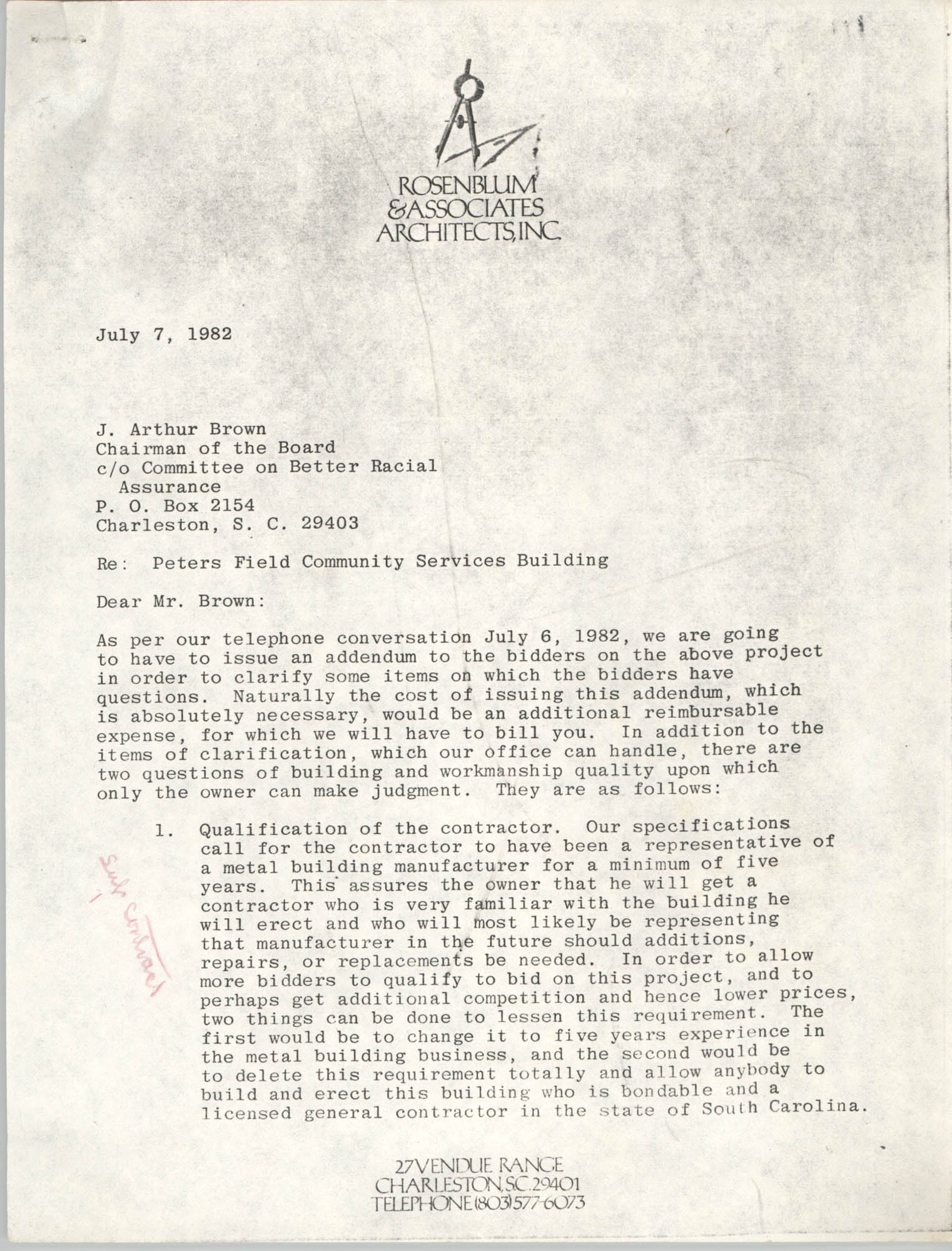 Letter from Jeffrey Rosenblum to J. Arthur Brown, July 7, 1982