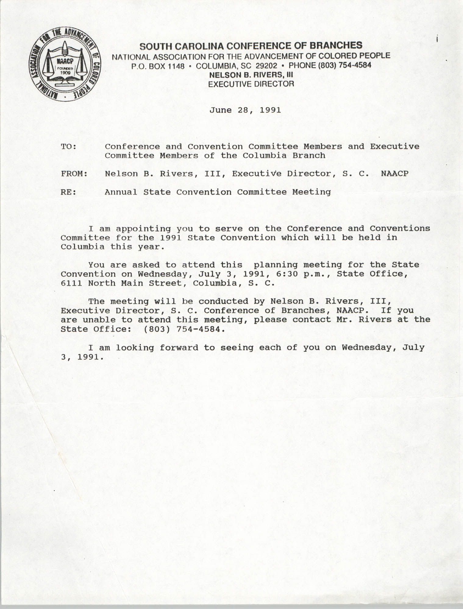 South Carolina Conference of Branches of the NAACP Memorandum, June 28, 1991