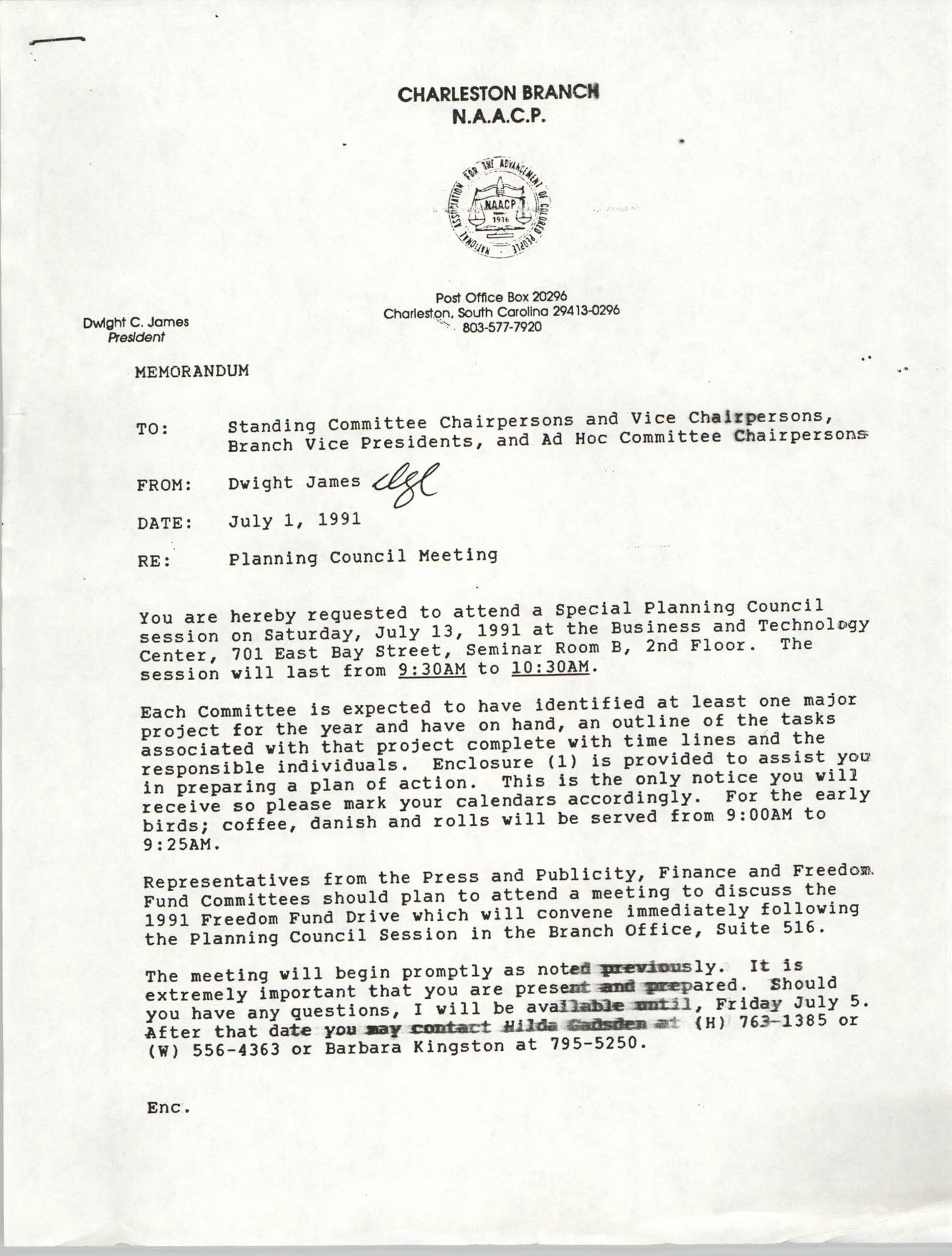 Charleston Branch of the NAACP Memorandum, July 1, 1991