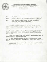 South Carolina Conference of Branches of the NAACP Memorandum, June 30, 1989