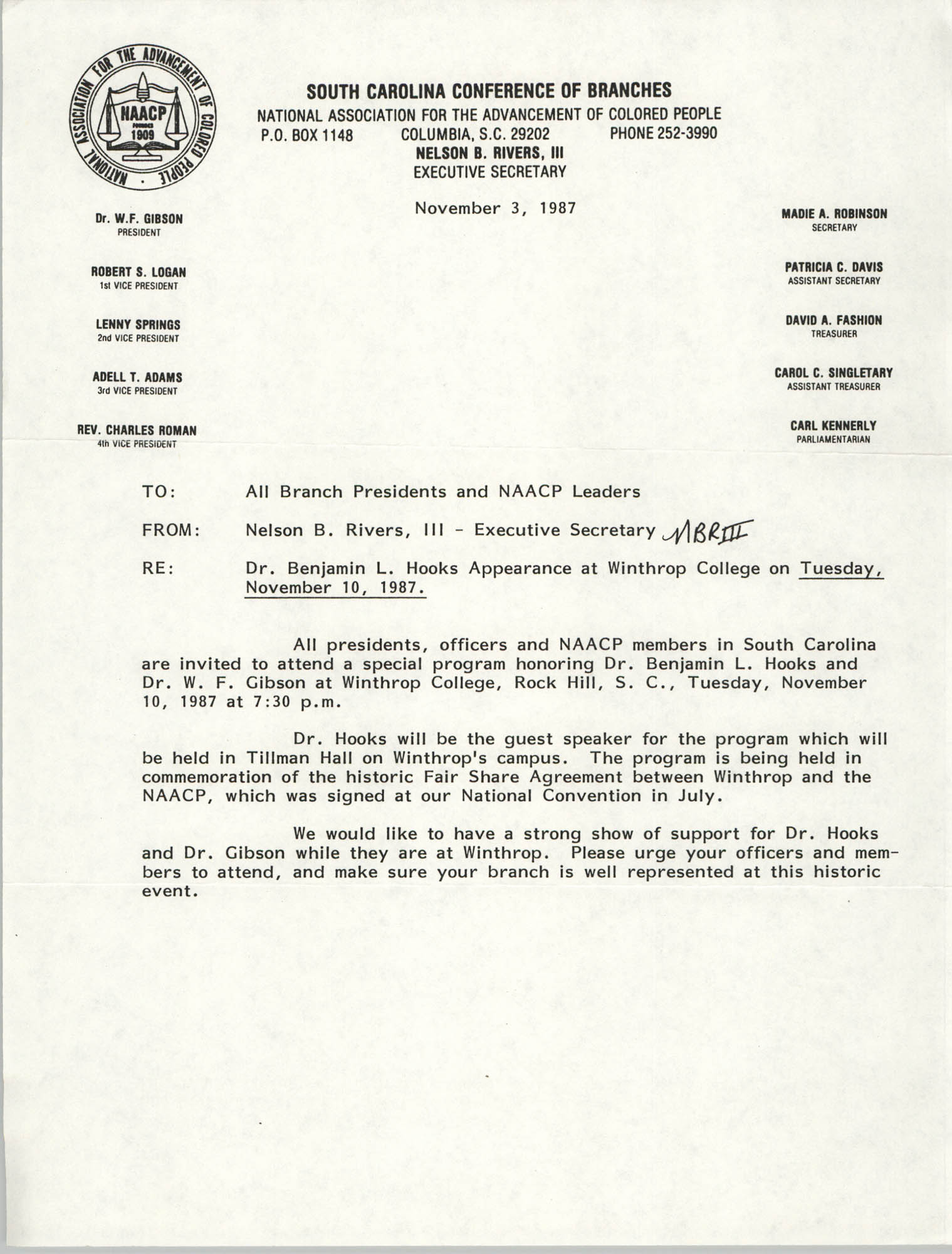 South Carolina Conference of Branches of the NAACP Memorandum, November 3, 1987