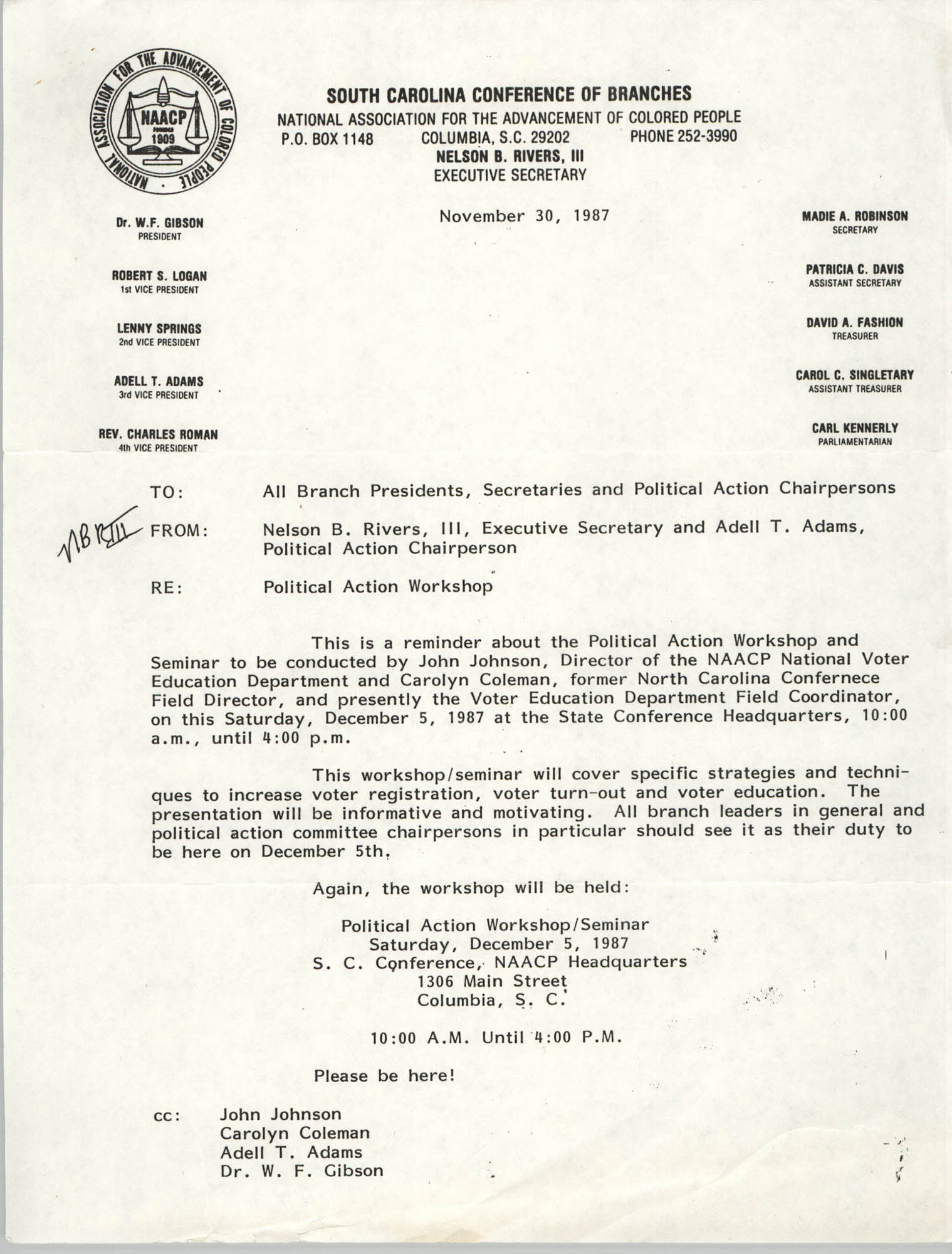 South Carolina Conference of Branches of the NAACP Memorandum, November 30, 1987