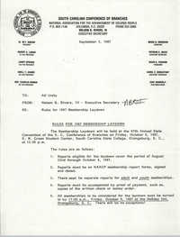South Carolina Conference of Branches of the NAACP Memorandum, September 3, 1987