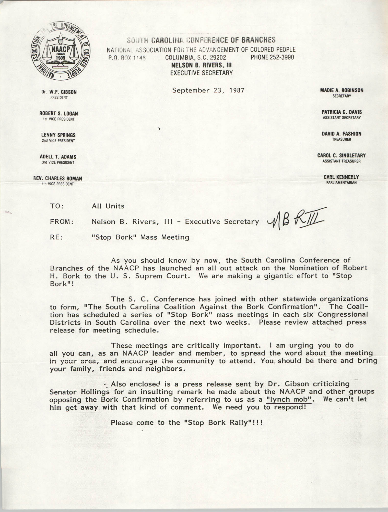 South Carolina Conference of Branches of the NAACP Memorandum, September 23, 1987