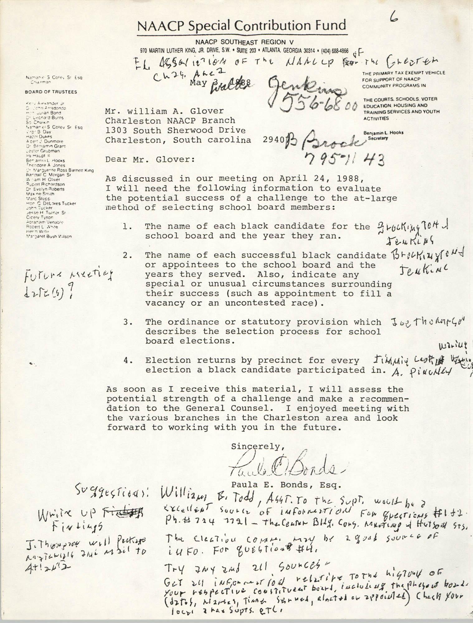 NAACP Special Contribution Fund Memorandum