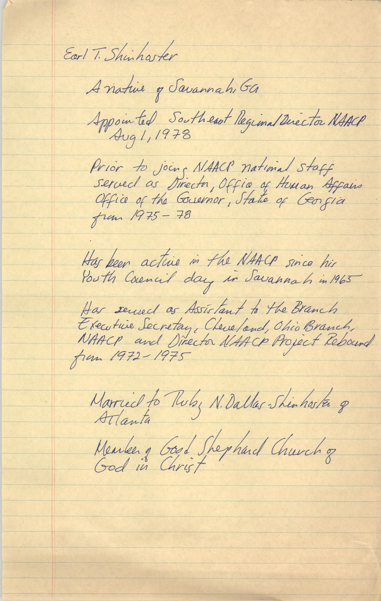 Earl T. Shinhoster Biographical Information
