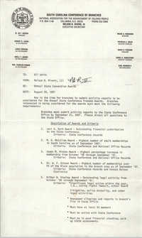 South Carolina Conference of Branches of the NAACP Memorandum, August 28, 1987