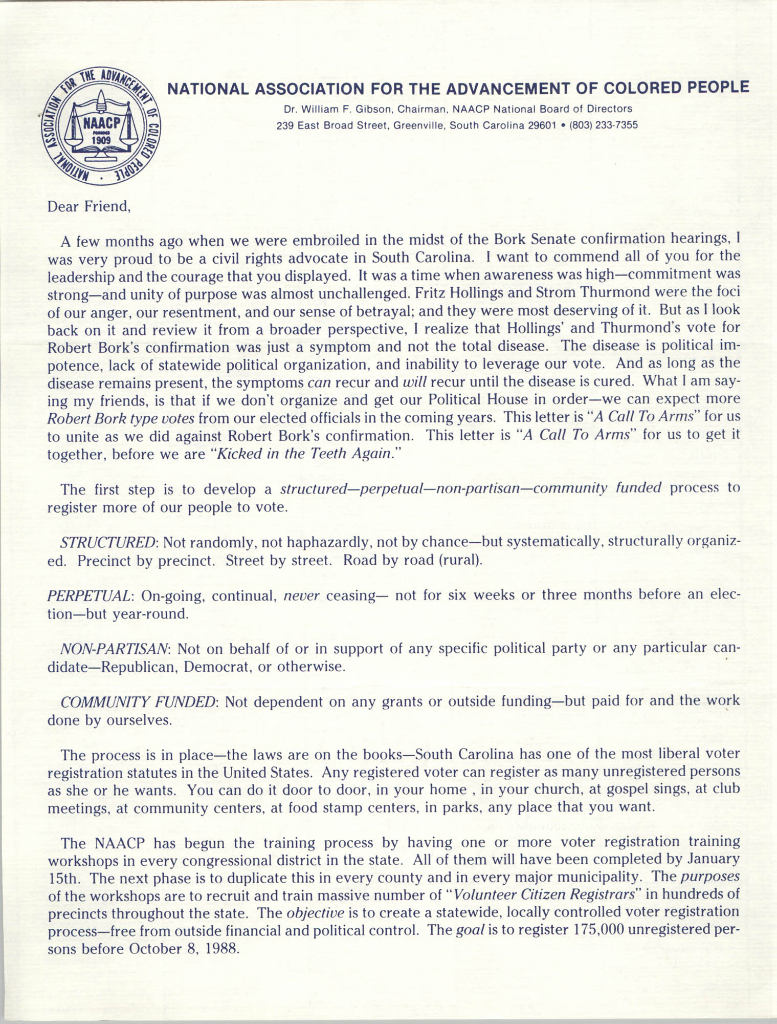 NAACP Statement on Judge Bork, January 13, 1988