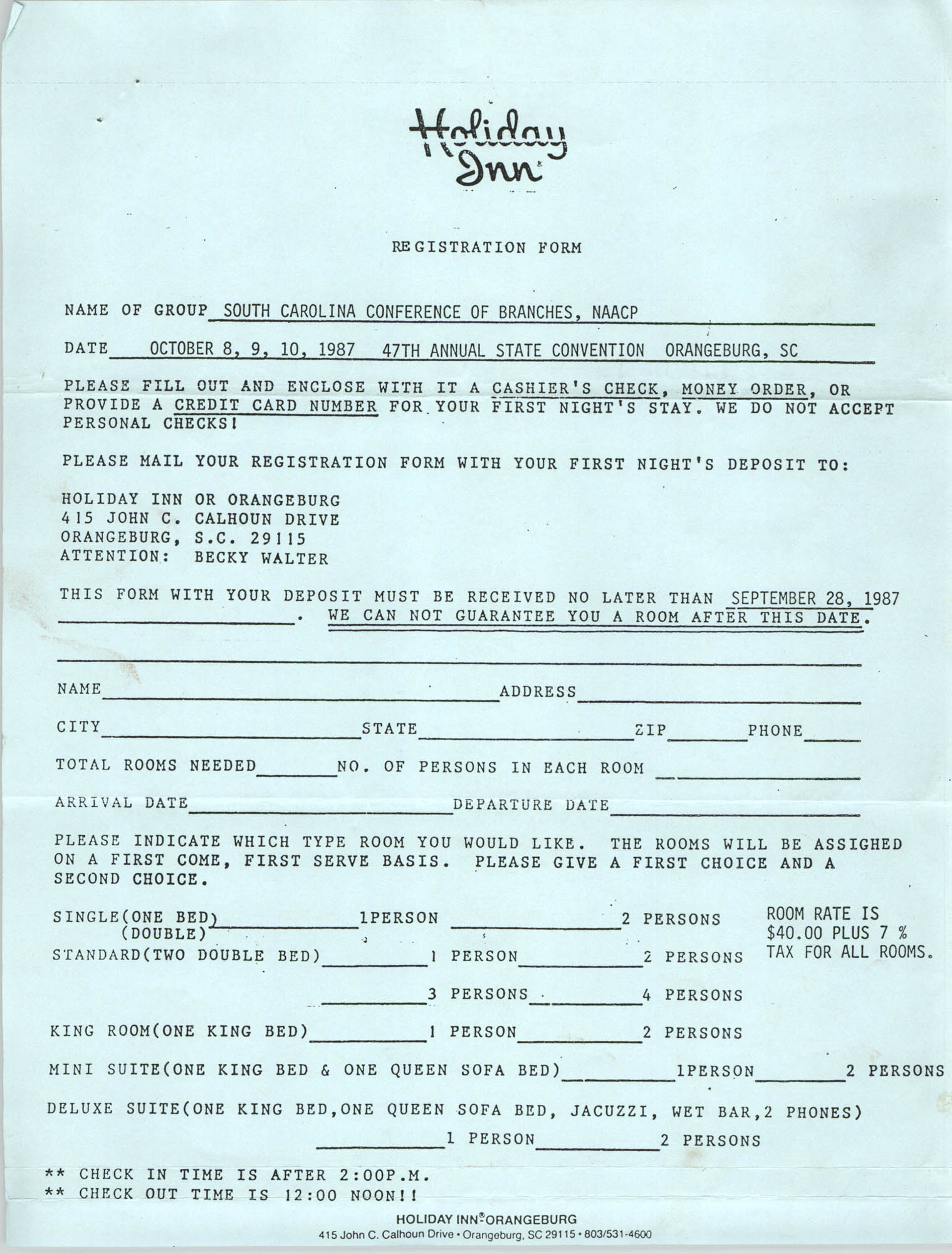 Holiday Inn, Registration Form for the South Carolina Conference of Branches NAACP, 47th Annual State Convention