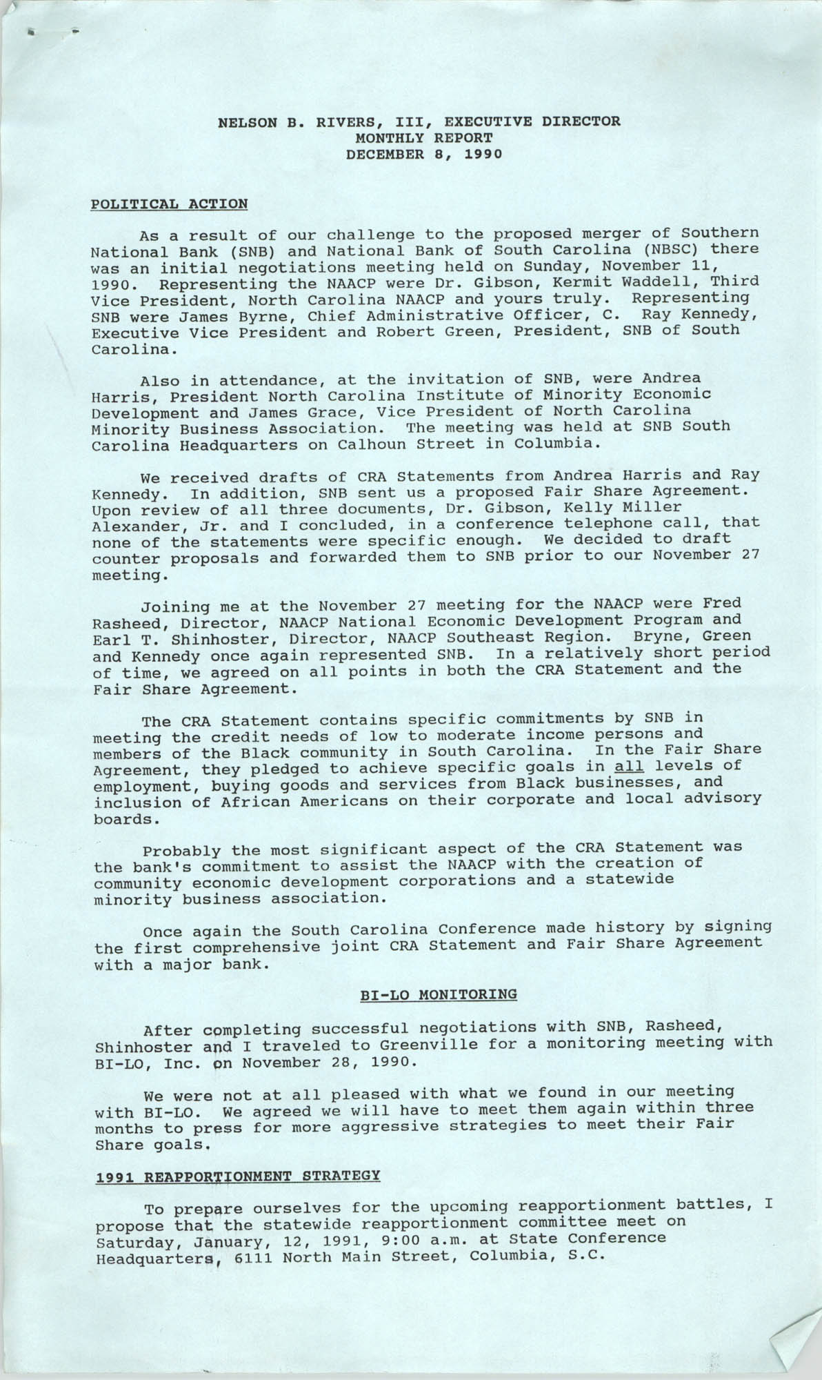 South Carolina Conference of Branches of the NAACP Monthly Report, December 8, 1990