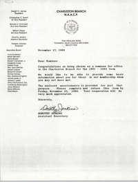 Charleston Branch of the NAACP Memorandum, November 17, 1990