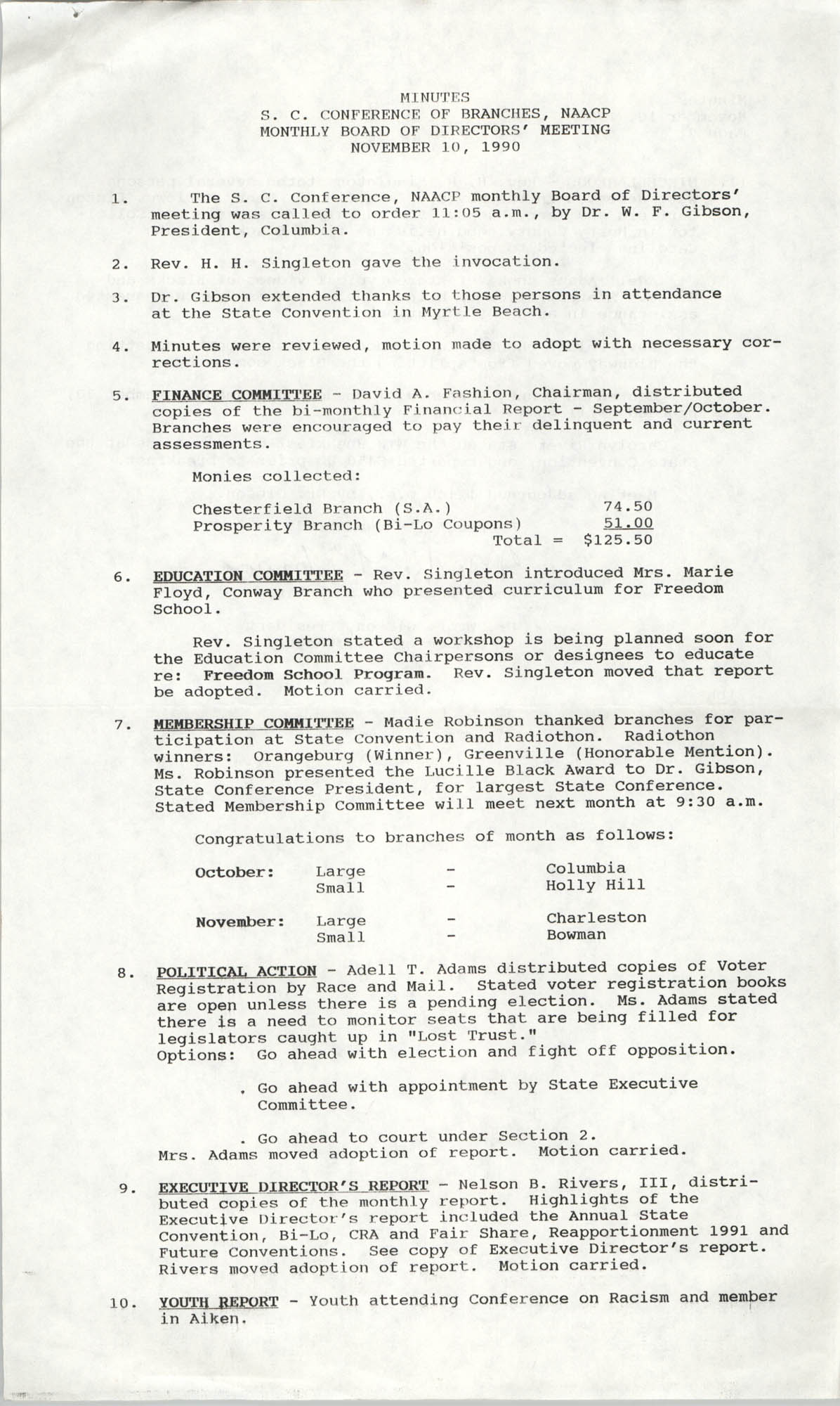 Minutes, South Carolina Conference of Branches of the NAACP, November 10, 1990