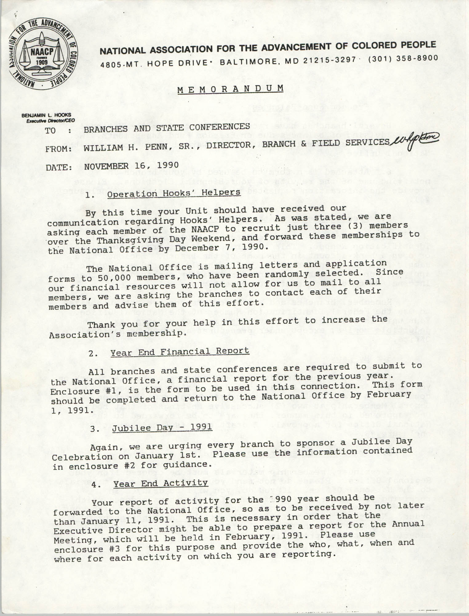 NAACP Memorandum, November 16, 1990