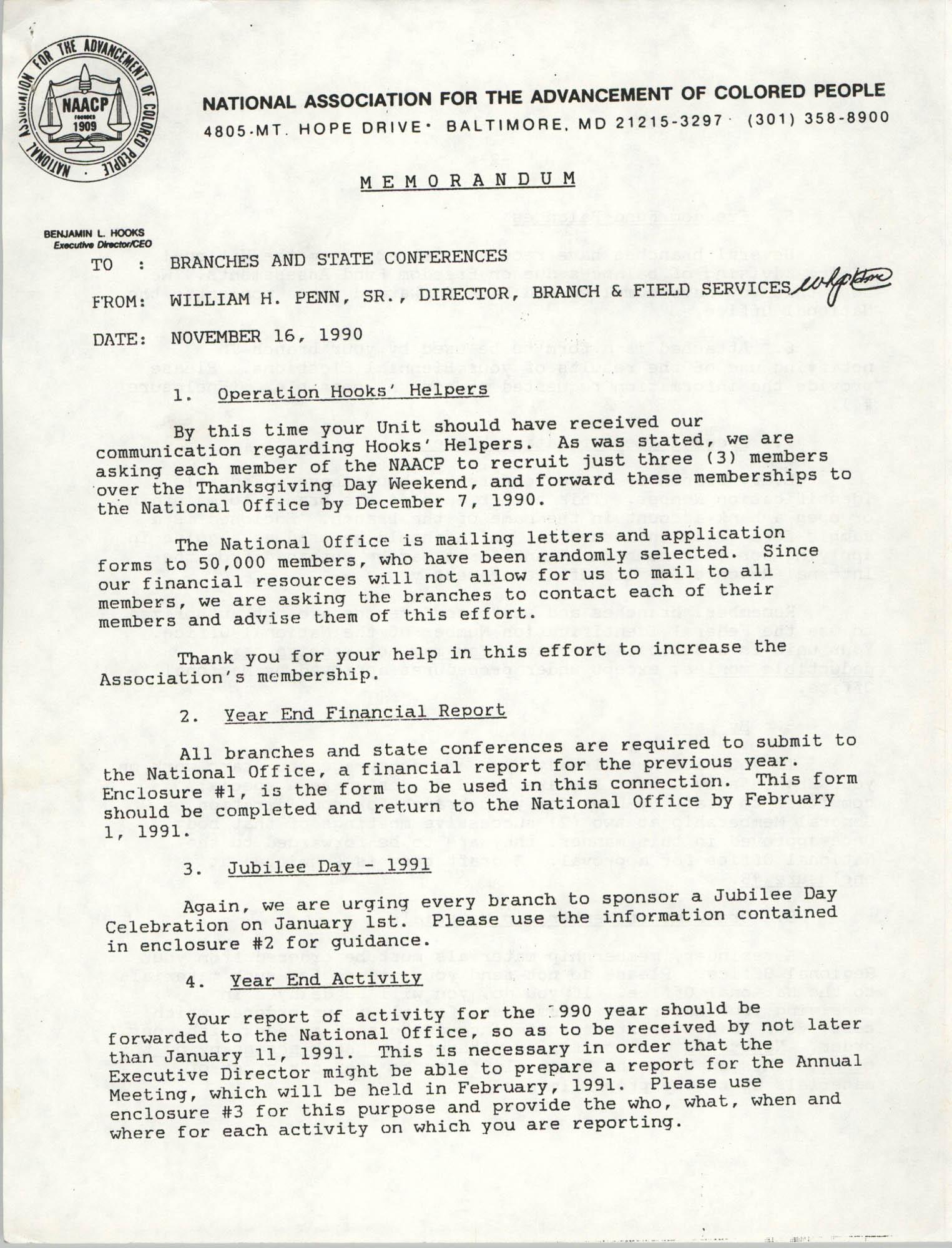 NAACP Memorandum, November 16, 1990