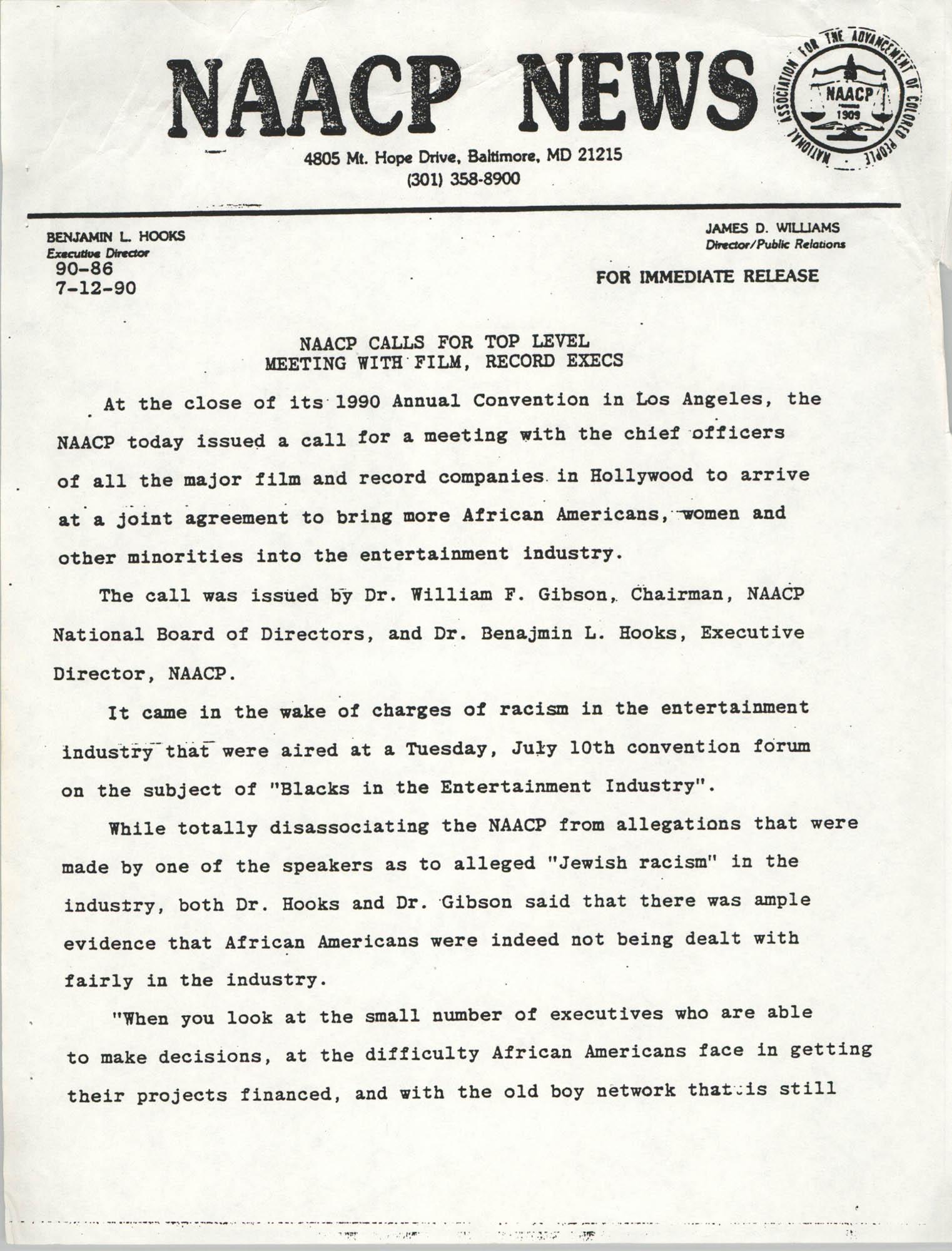 NAACP News Statement, July 12, 1990