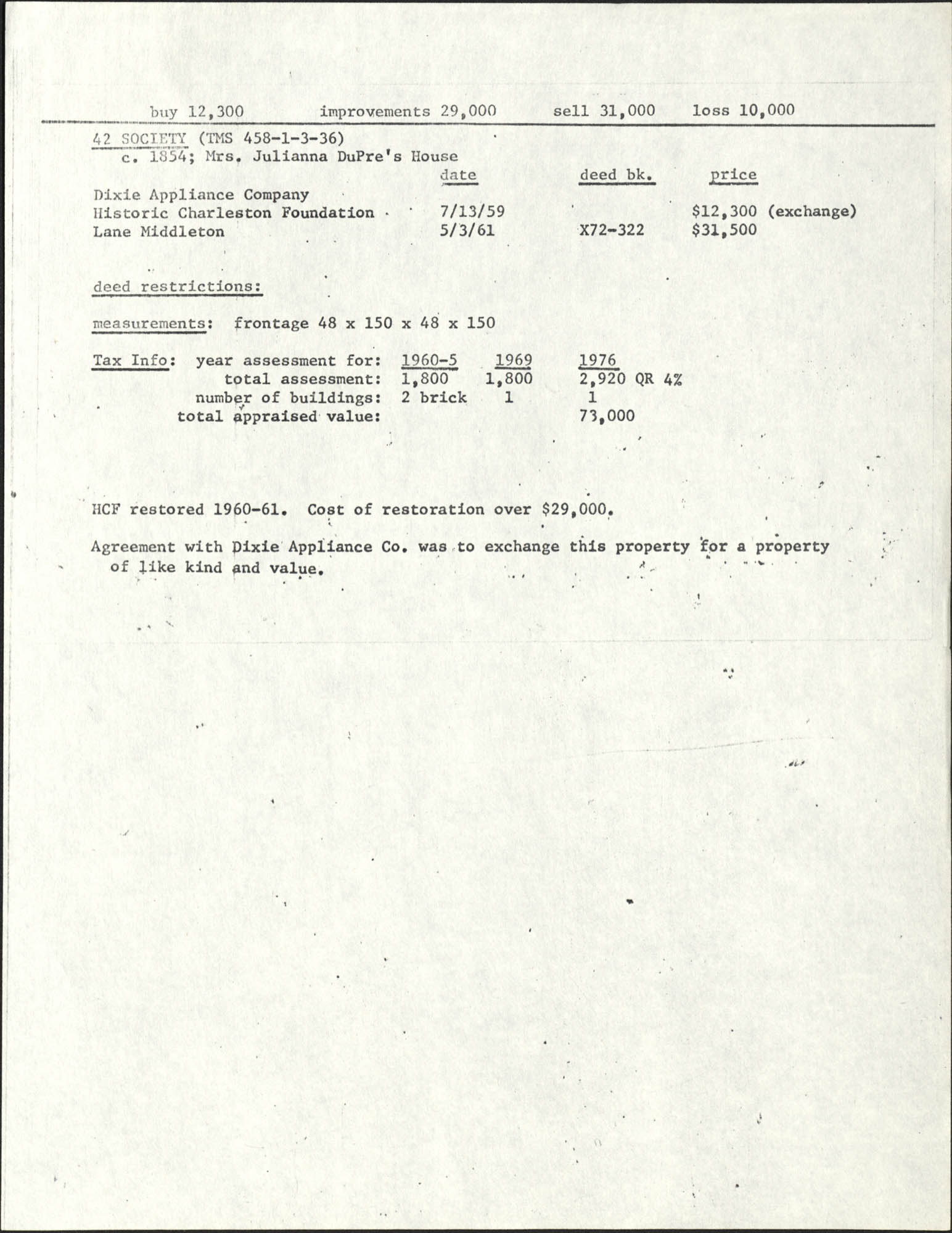 Deed records for 42 Society Street