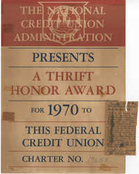 Thrift Honor Award, National Credit Union Administration