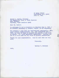 Letter from Bernice Robinson to Donald Fowler, June 11, 1973