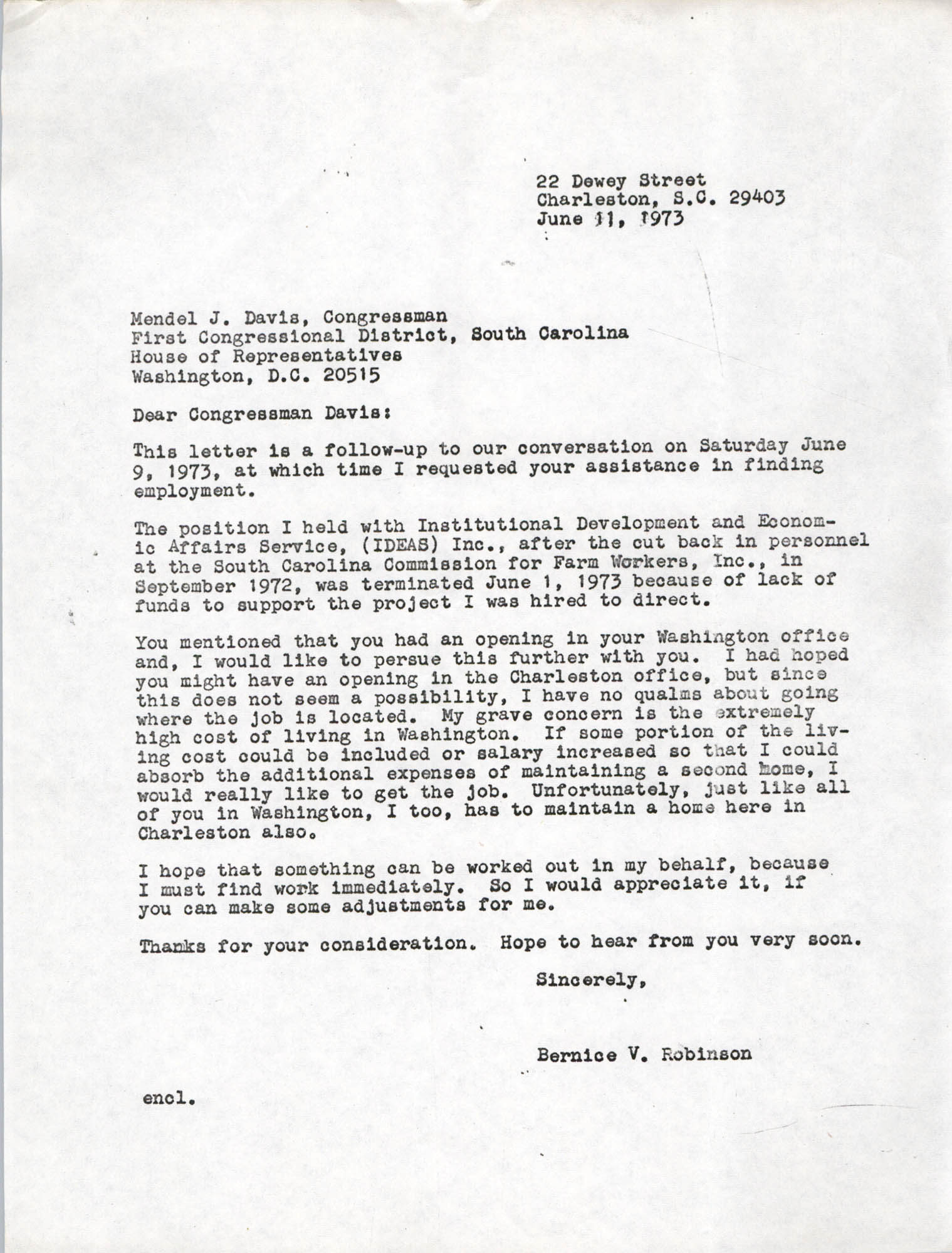 Letter from Bernice Robinson to Mendel Davis, June 11, 1973